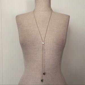Swarovski & Goldtone Dual Drop Necklace